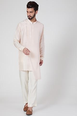 Blush Pink Silk Draped Kurta by Rohit Gandhi & Rahul Khanna Men