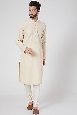 Beige Cotton Kurta Set by Rohit Gandhi & Rahul Khanna Men