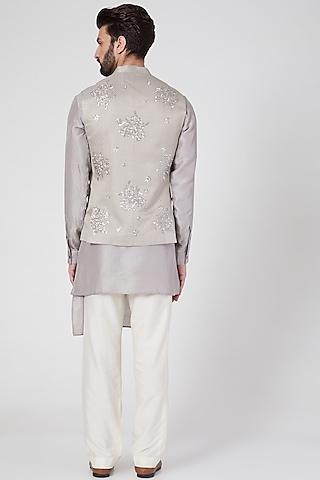 Grey Embroidered Waist Jacket by Rohit Gandhi & Rahul Khanna Men