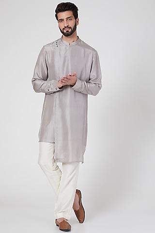 Grey Silk Draped Kurta by Rohit Gandhi & Rahul Khanna Men