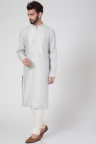 Grey Embroidered Kurta Set by Rohit Gandhi & Rahul Khanna Men