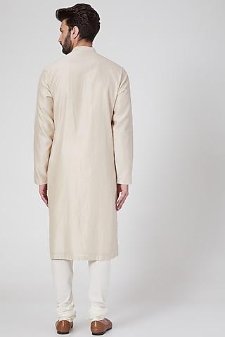 Beige Cotton Embroidered Kurta Set by Rohit Gandhi & Rahul Khanna Men