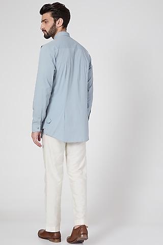 Sky Blue Cotton Multi Layered Shirt by Rohit Gandhi & Rahul Khanna Men