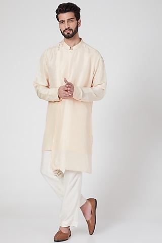 Beige Silk Draped Kurta by Rohit Gandhi & Rahul Khanna Men