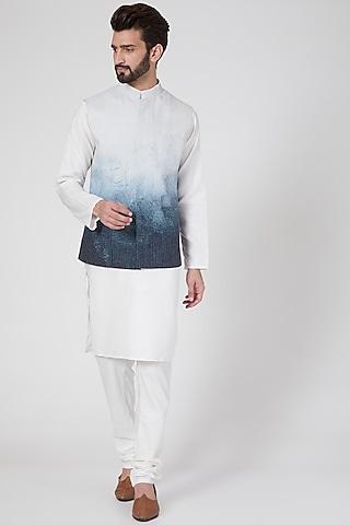 White Digital Printed Waist Jacket by Rohit Gandhi & Rahul Khanna Men