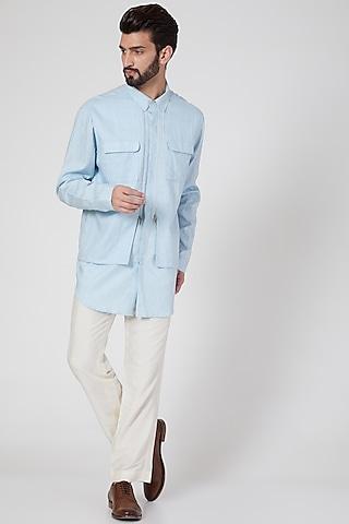 Sky Blue Cotton Multi Paneled Shirt by Rohit Gandhi & Rahul Khanna Men