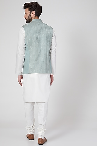 Mint Green Embroidered Waist Jacket by Rohit Gandhi & Rahul Khanna Men