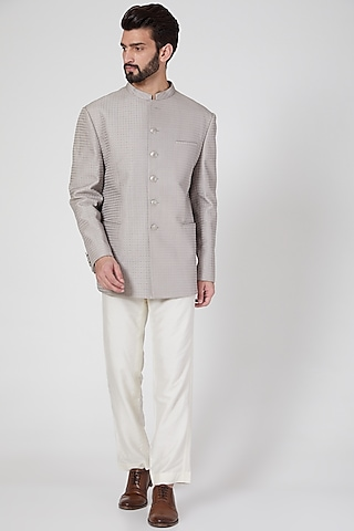 Grey Embroidered Bandhgala by Rohit Gandhi & Rahul Khanna Men