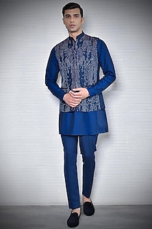 Navy Blue Embroidered & Printed Waistcoat by Rohit Gandhi & Rahul Khanna Men