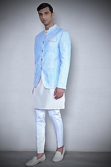 Light Blue Printed Bandhgala Jacket by Rohit Gandhi & Rahul Khanna Men