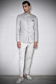 Ash Beige Embroidered Bandhgala Jacket by Rohit Gandhi & Rahul Khanna Men