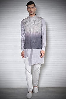 Smoke Grey To Carbon Grey Waistcoat by Rohit Gandhi & Rahul Khanna Men