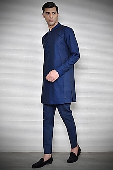 Navy Blue Pintuck Kurta by Rohit Gandhi & Rahul Khanna Men