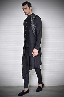 Black Embroidered Layered Waistcoat by Rohit Gandhi & Rahul Khanna Men