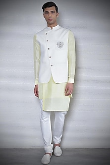 Ivory Embroidered Overlap Waistcoat by Rohit Gandhi & Rahul Khanna Men