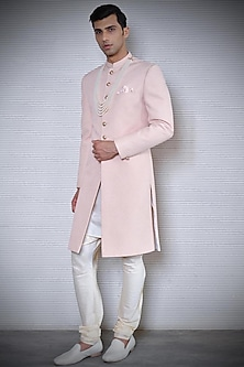 Feather Pink Checkered Sherwani by Rohit Gandhi & Rahul Khanna Men