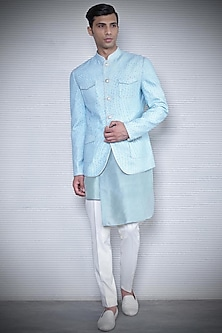 Aqua Blue Printed Reversible Bandhgala Jacket by Rohit Gandhi & Rahul Khanna Men