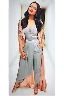 Grey Strappy Draped Jumpsuit by Rohit Gandhi & Rahul Khanna