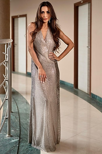 Silver Embroidered Overlap Gown by Rohit Gandhi & Rahul Khanna