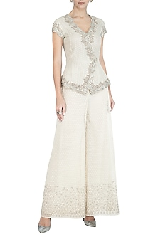 Beige Embroidered Jacket Top by Rohit Gandhi & Rahul Khanna
