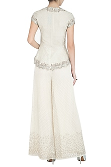 Beige Embroidered Palazzo Pants by Rohit Gandhi & Rahul Khanna