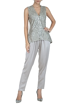 Silver Embellished Jacket Top by Rohit Gandhi & Rahul Khanna