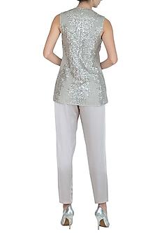 Silver Embellished Jacket Top by Rohit Gandhi & Rahul Khanna
