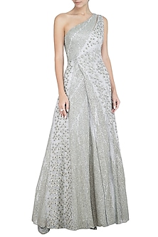 Silver Embellished One Shoulder Gown by Rohit Gandhi & Rahul Khanna