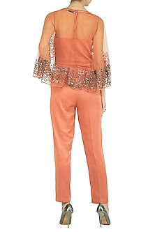Orange Jumpsuit With Attached Embellished Cape by Rohit Gandhi & Rahul Khanna