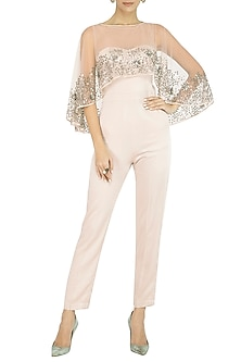 Baby Pink Jumpsuit With Attached Embellished Cape by Rohit Gandhi & Rahul Khanna