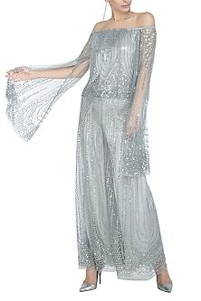 Silver Embellished Off Shoulder Top by Rohit Gandhi & Rahul Khanna