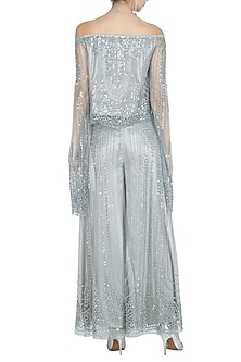 Silver Embellished Off Shoulder Top by Rohit Gandhi & Rahul Khanna