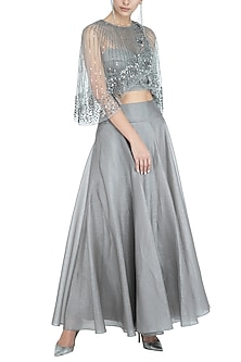 Grey Embellished Cape Top by Rohit Gandhi & Rahul Khanna