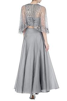 Grey Shimmery Flared Skirt by Rohit Gandhi & Rahul Khanna
