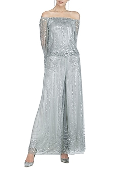 Silver Embellished Flared Pants by Rohit Gandhi & Rahul Khanna