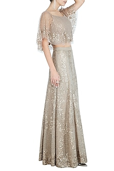 Muted Gold Embellished Cape Top by Rohit Gandhi & Rahul Khanna