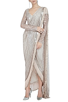 Light Peach Embellished Pre-Draped Saree Set by Rohit Gandhi & Rahul Khanna