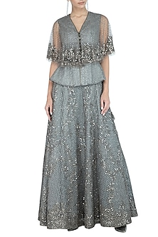 Grey Peplum Top With Embroidered Cape by Rohit Gandhi & Rahul Khanna