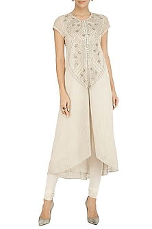 Off White Embroidered Kurta With Pants by Rohit Gandhi & Rahul Khanna