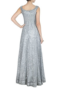 Silver Embroidered Off Shoulder Gown by Rohit Gandhi & Rahul Khanna