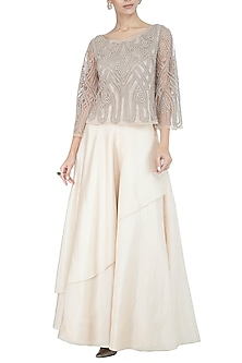 Silver Embellished Top by Rohit Gandhi & Rahul Khanna