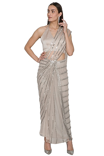 Orbit Silver Embellished Draped Saree Set by Rohit Gandhi & Rahul Khanna