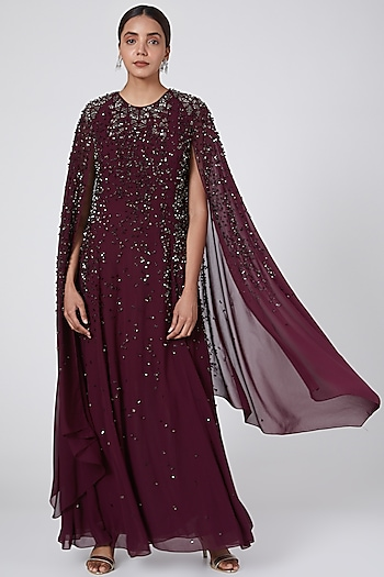 Burgundy Embroidered Gown by Rohit Gandhi & Rahul Khanna