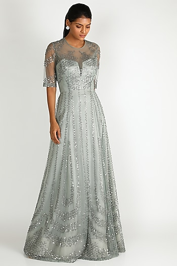 Silver Embroidered Gown by Rohit Gandhi & Rahul Khanna