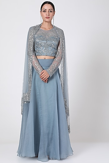 Frosty Blue Polyester Skirt Set by Rohit Gandhi & Rahul Khanna