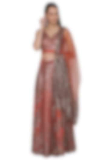 Terracotta Red Embellished Lehenga Set by Rohit Gandhi & Rahul Khanna