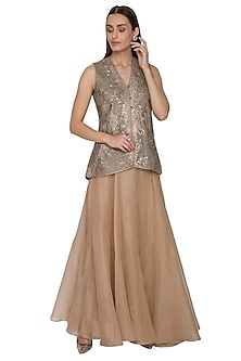 Muted Golden Embroidered Jacket With Flared Skirt by Rohit Gandhi & Rahul Khanna
