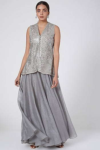 Silver Embellished Jacket With Draped Skirt by Rohit Gandhi & Rahul Khanna