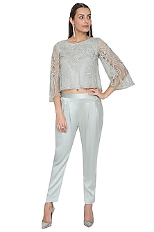 Spruce Green Embellished Crop Top With Trouser Pants by Rohit Gandhi & Rahul Khanna