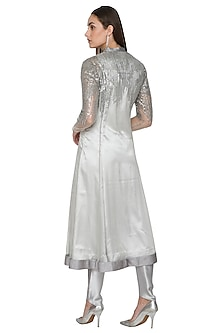 Silver Embellished Long Kurta With Pants by Rohit Gandhi & Rahul Khanna